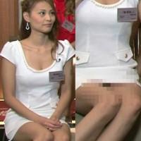 素人の女の子がテレビで黒いパンツをおおいに晒した瞬間